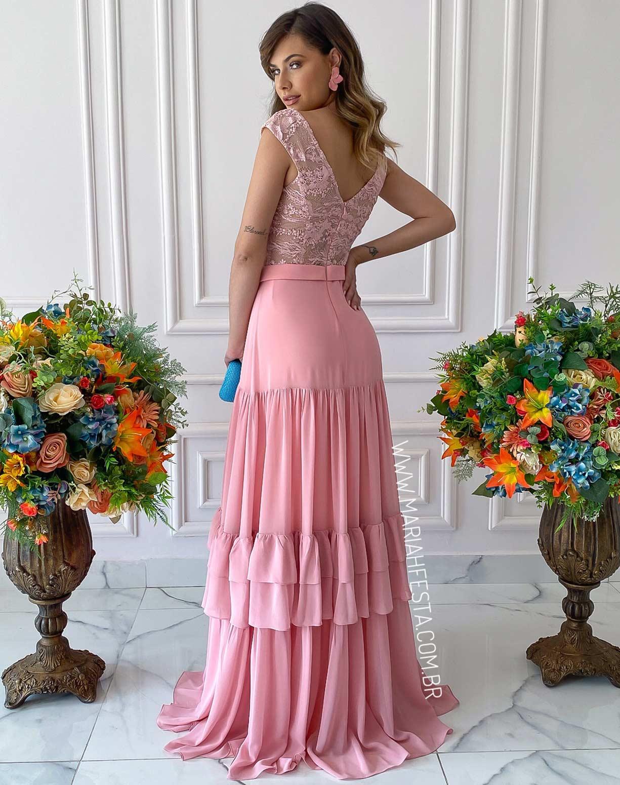 Vestido Rosê com Corpo em Renda e Saia com Camadas