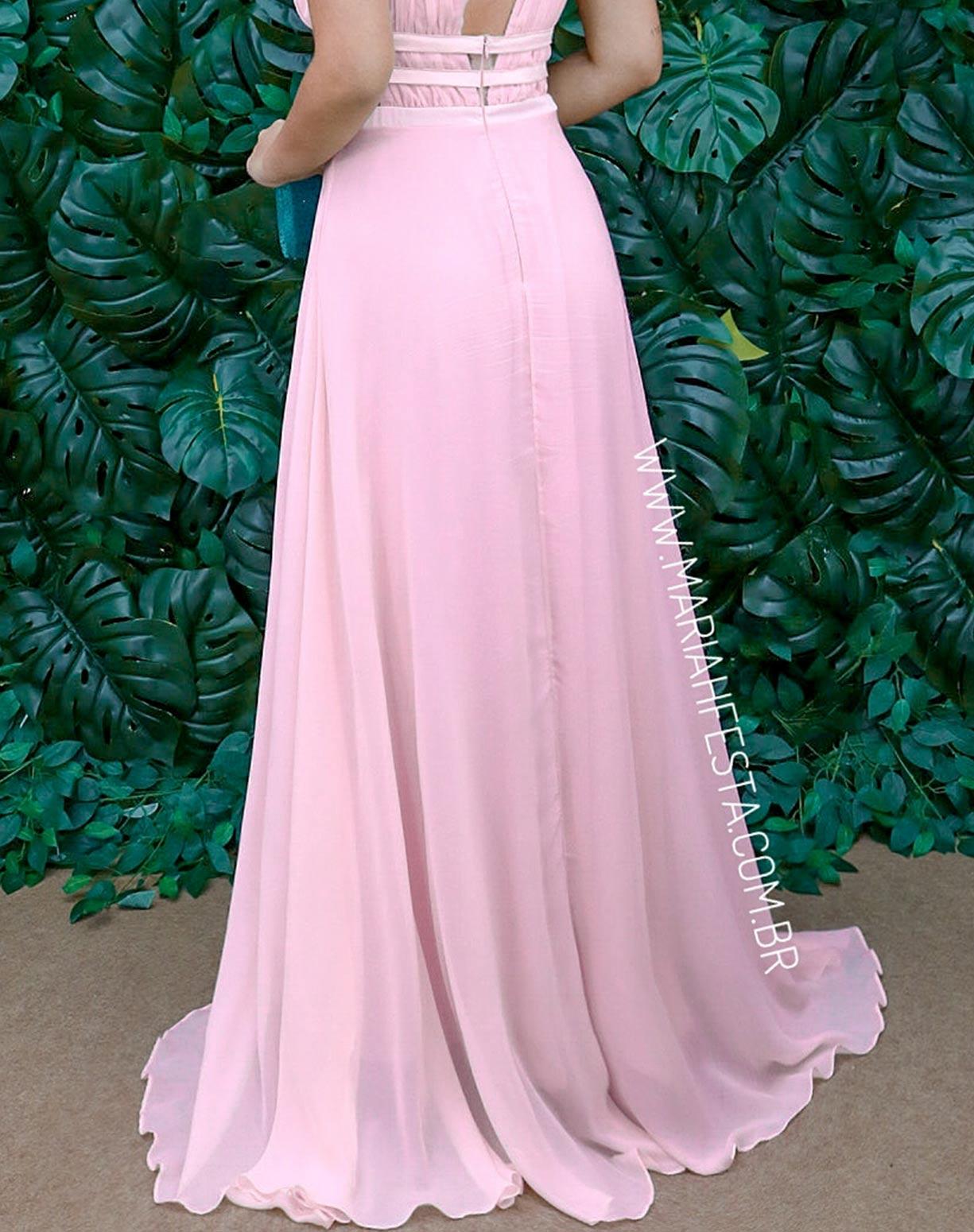 Vestido Rosê com Decote e Detalhes em Transparência