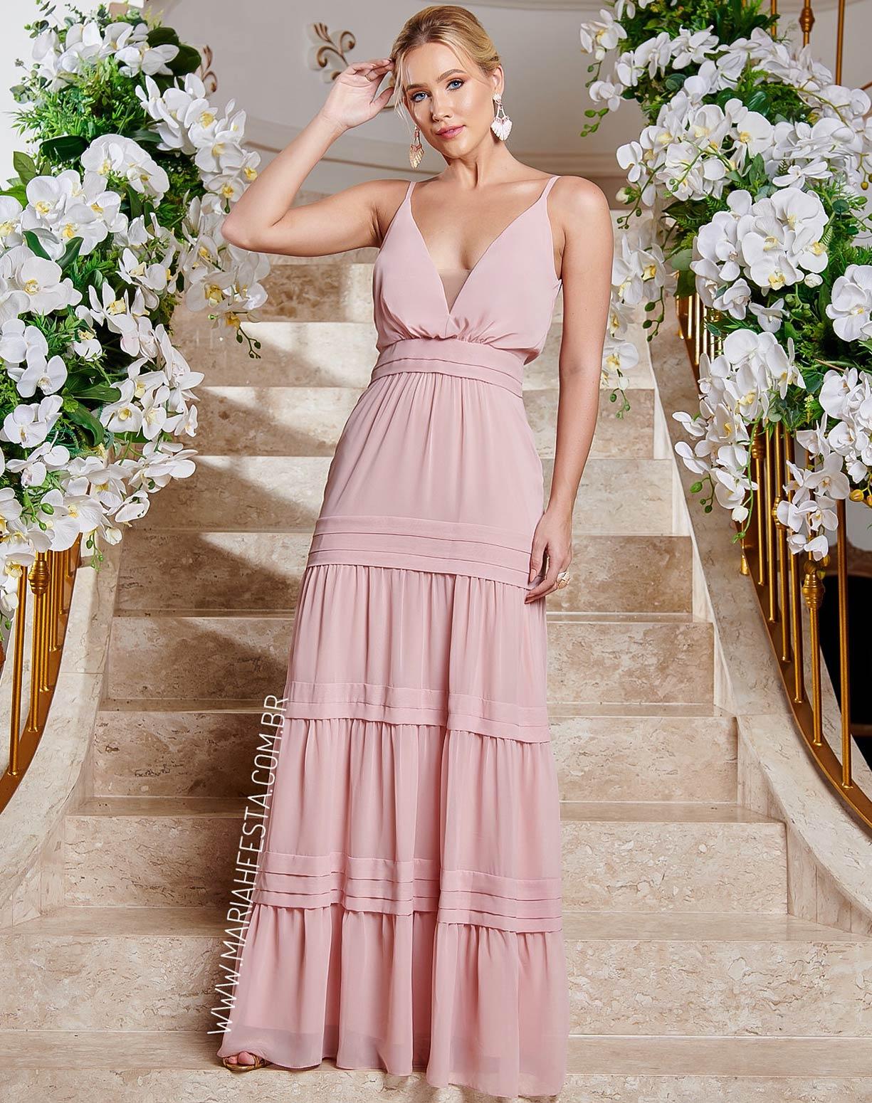 Vestido Rosê  com Decote e Saia em Camadas