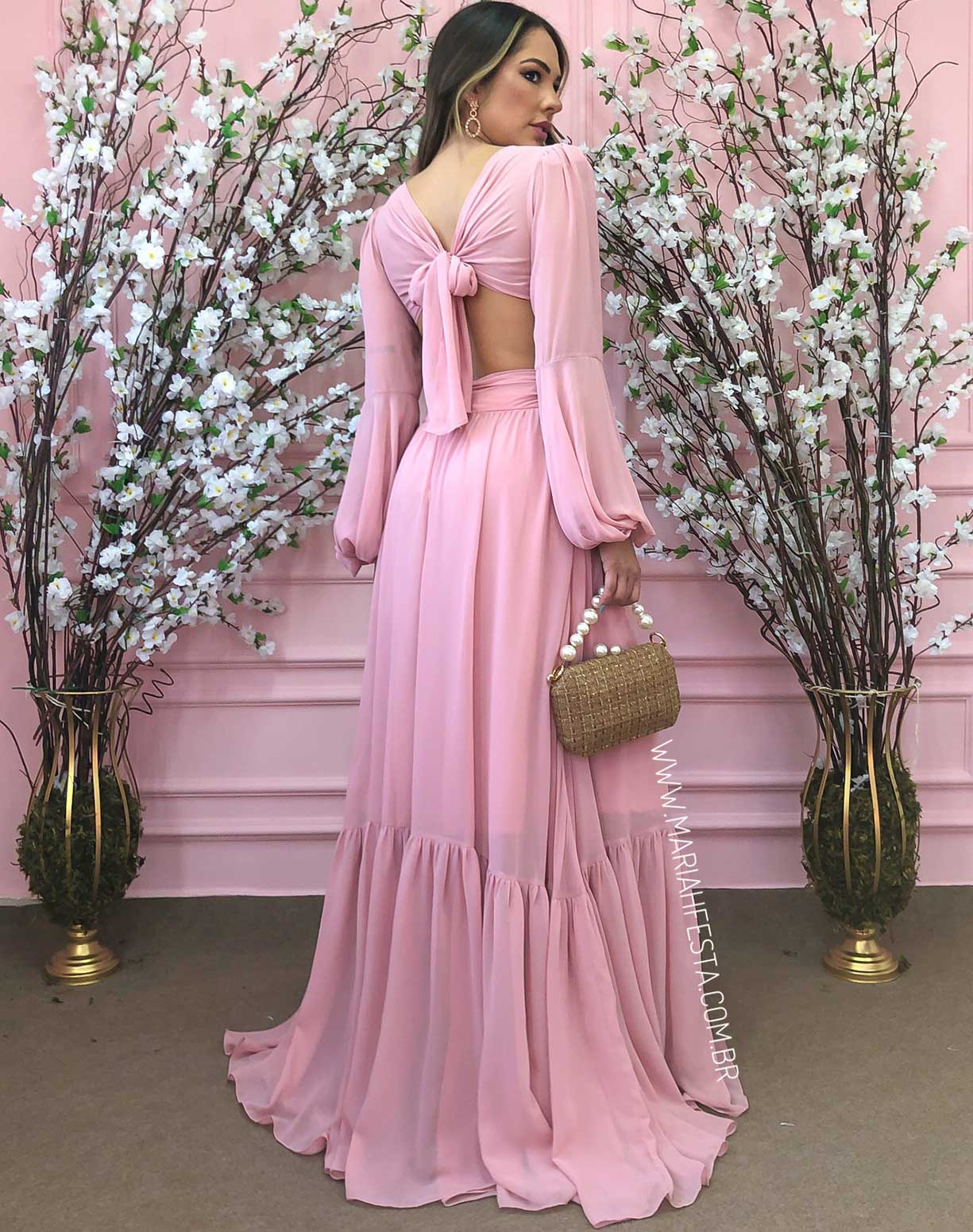Vestido Rose com Decotes