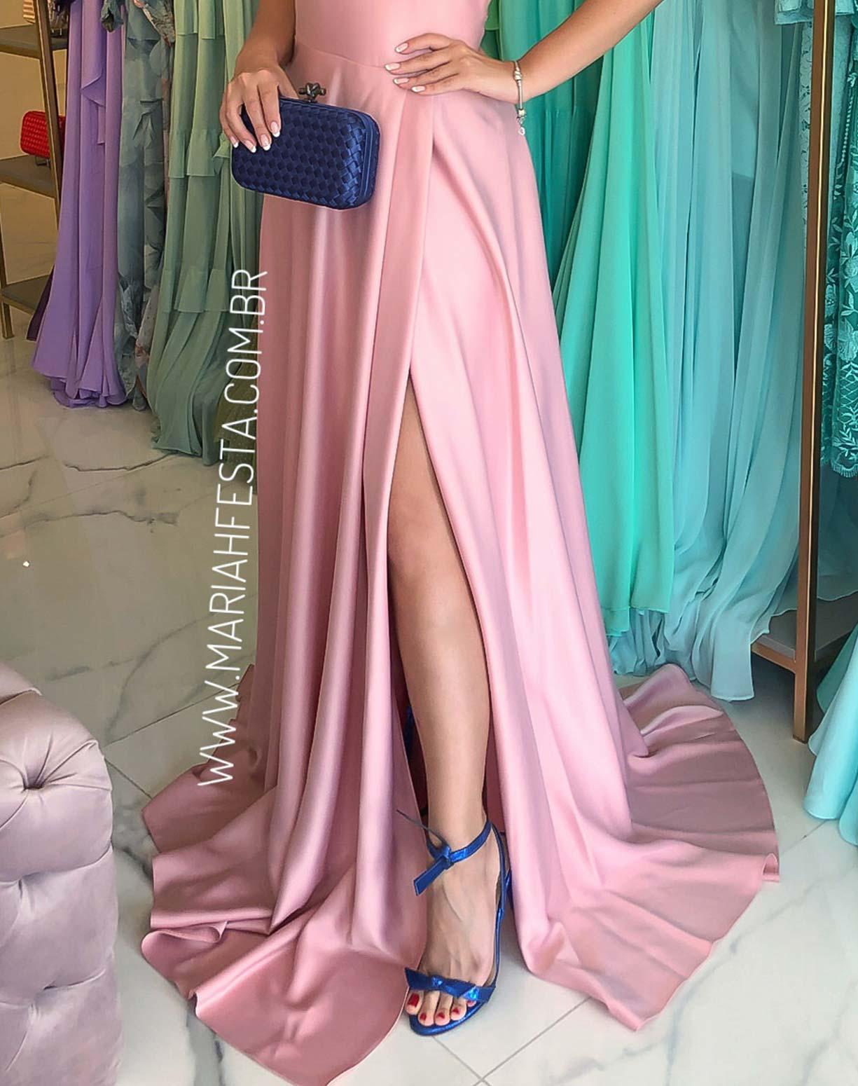 Vestido Rosê com Fenda e Bordado nas Costas