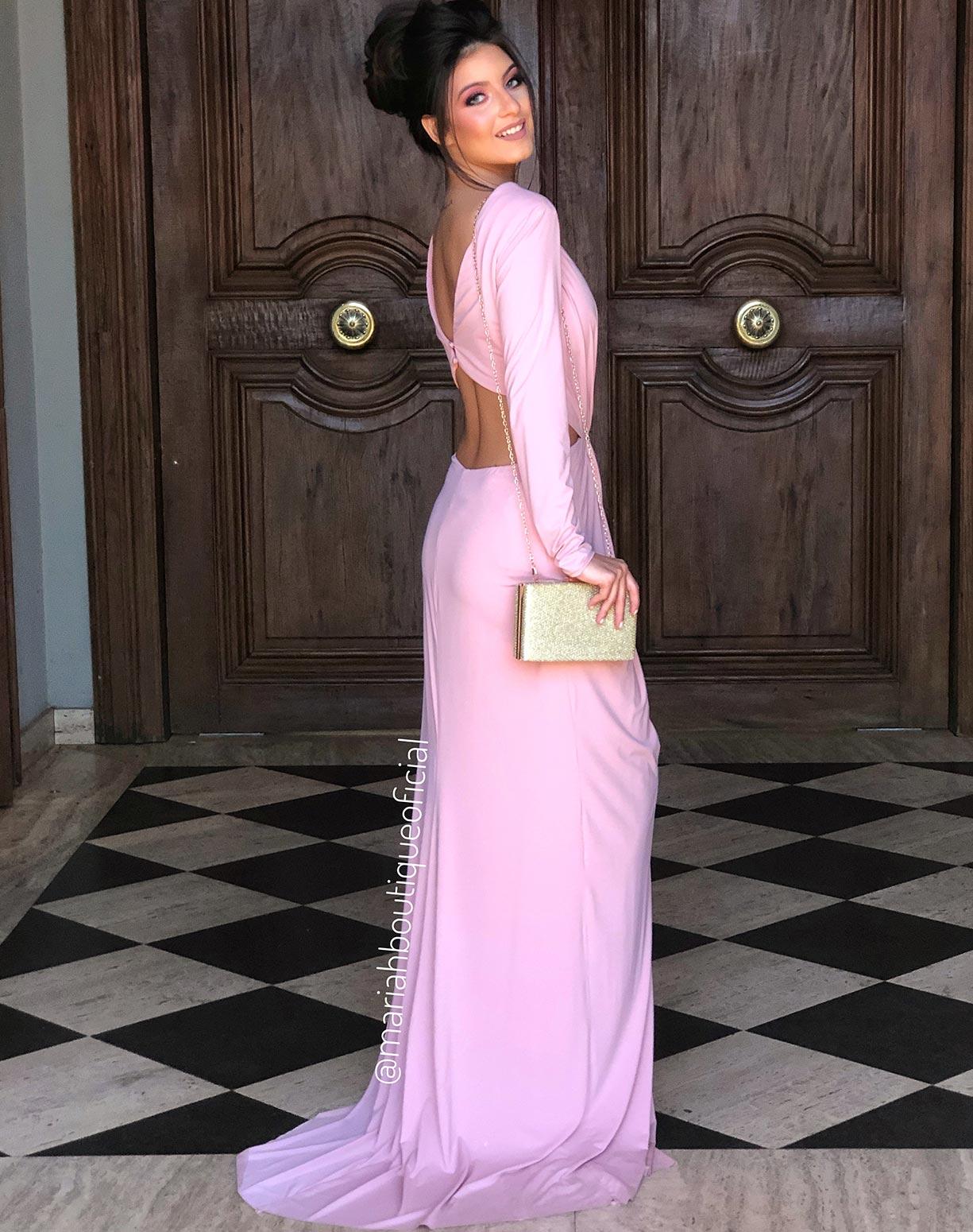 Vestido Rosê com Fenda e Decotes
