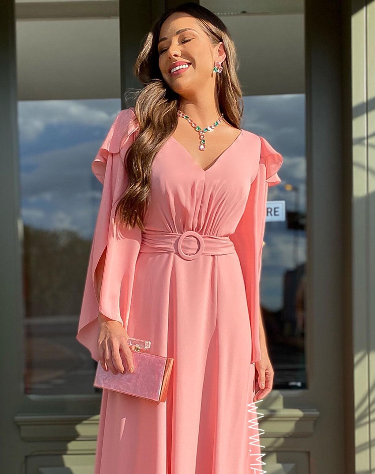 Vestido Rosê com Manga Assimétrica e Babados