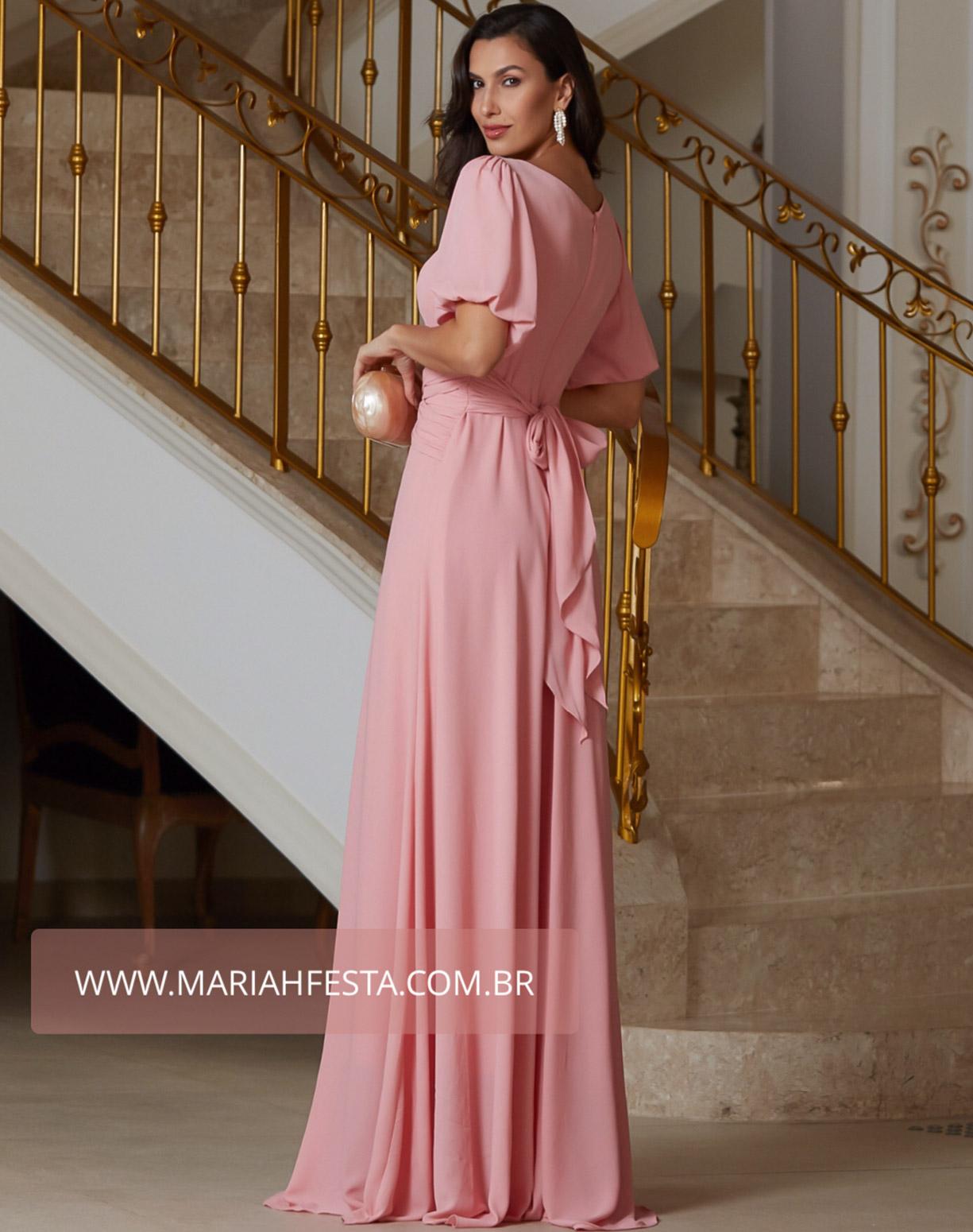 Vestido Rose com Manga Bufante e Cinto Drapeado