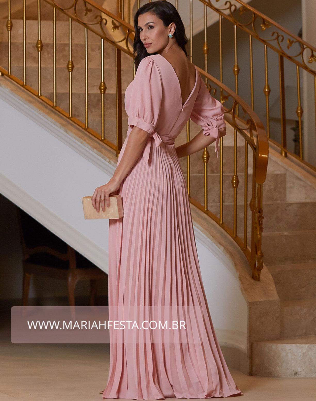 Vestido Rose com Manga Bufante e Decote em V