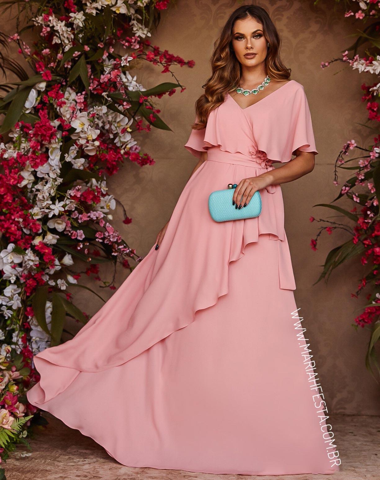 Vestido Rosê com Manga Curta e Flores 3D