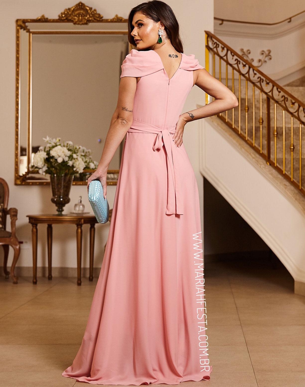 Vestido Rosê com Manga Drapeada