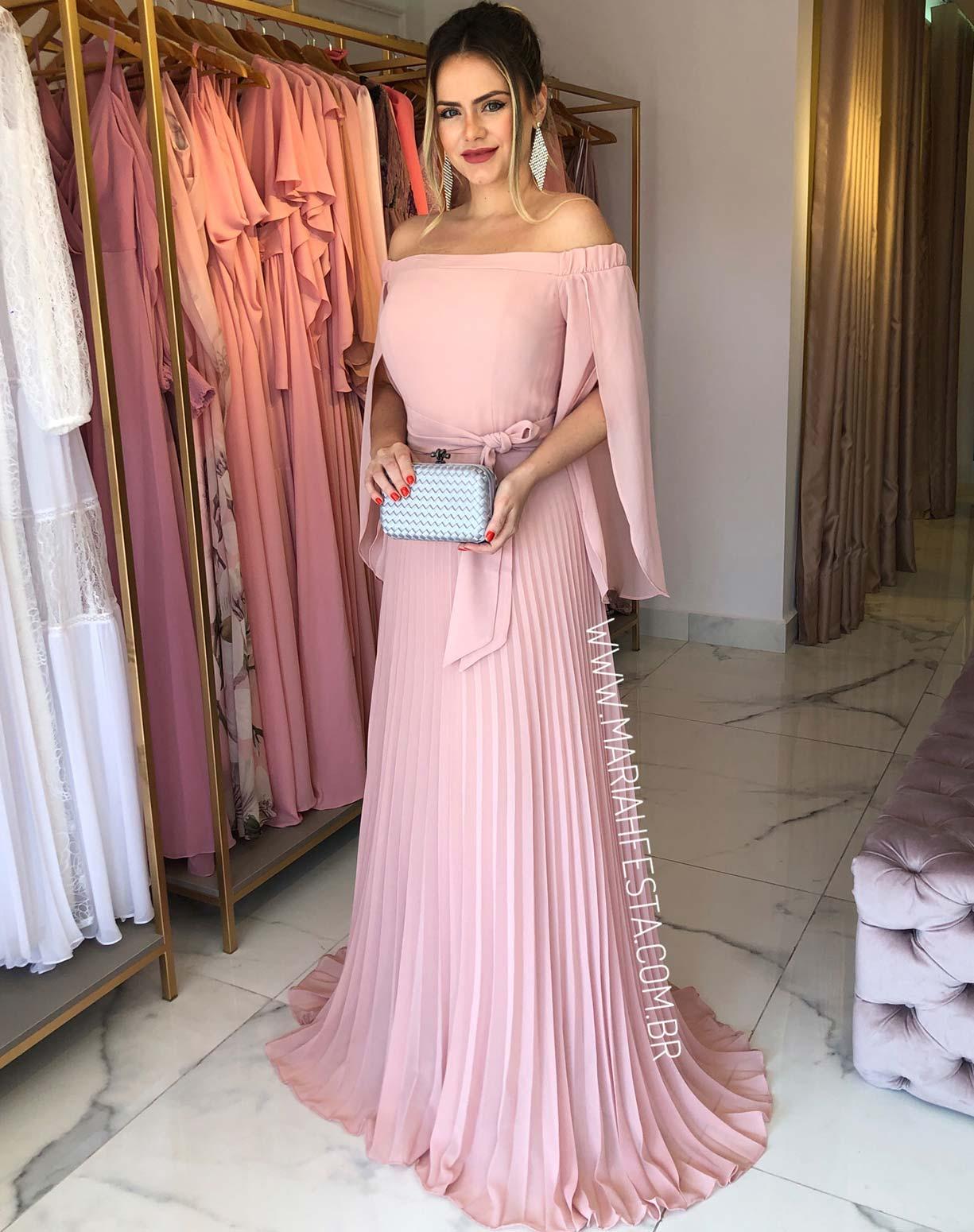 Vestido Rosê com Manga Voal