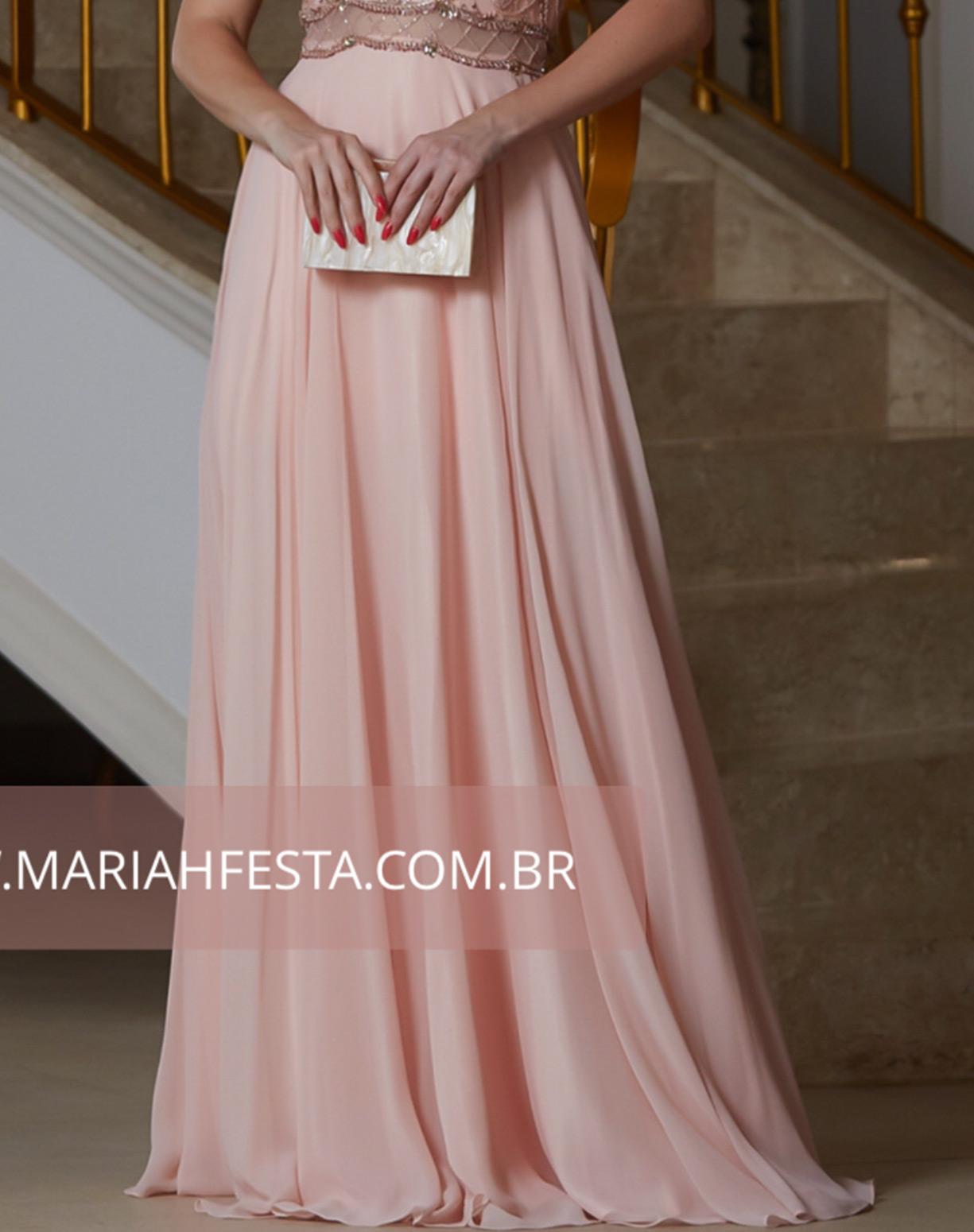 Vestido Rose com o Corpo Bordado e Saia Evasê