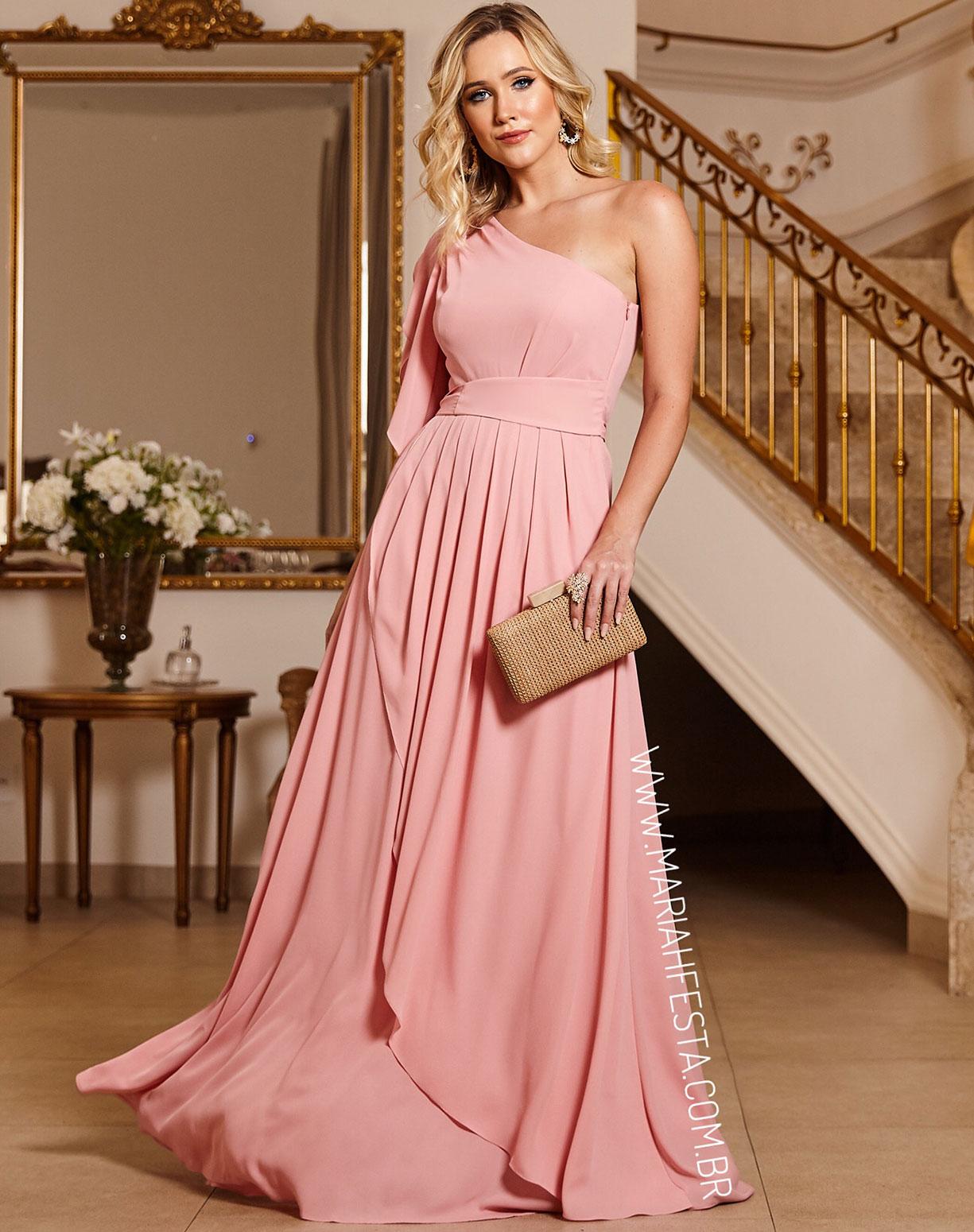 Vestido Rosê de um Ombro só Com Drapeado na Saia