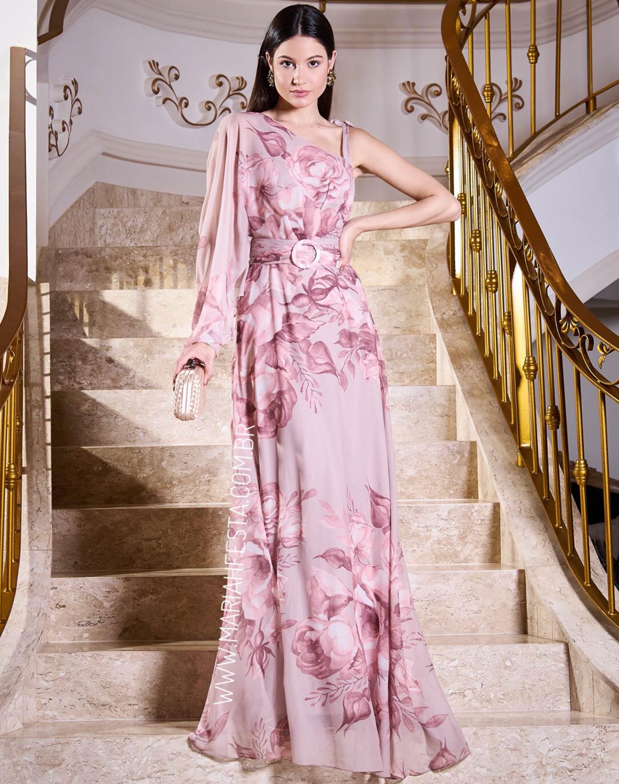 Vestido Rosê de Um Ombro Só e Alça de Amarrar