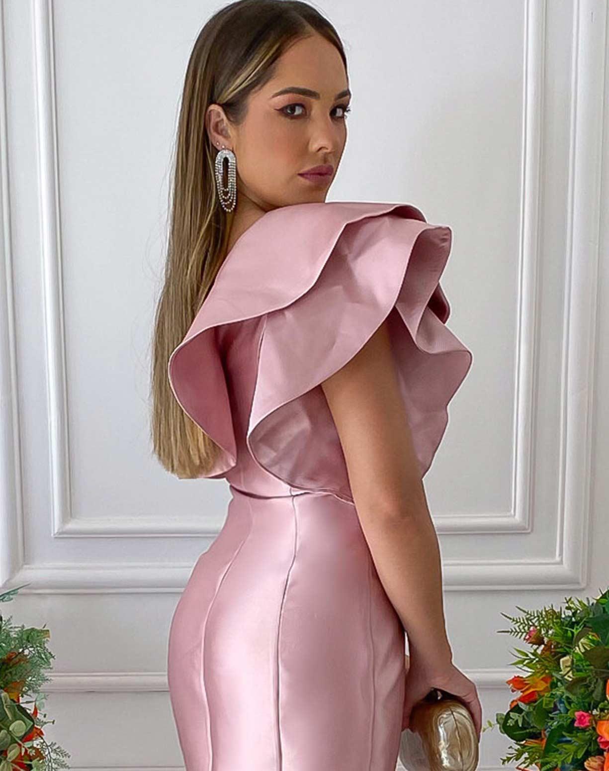 Vestido Rose de Um Ombro Só em Zibeline