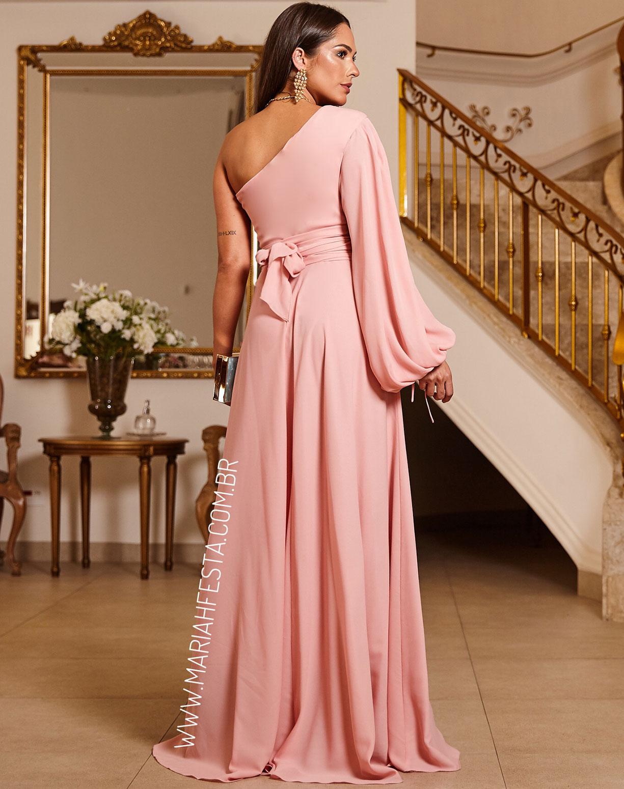 Vestido Rosê de um Ombro Só Manga Bufante