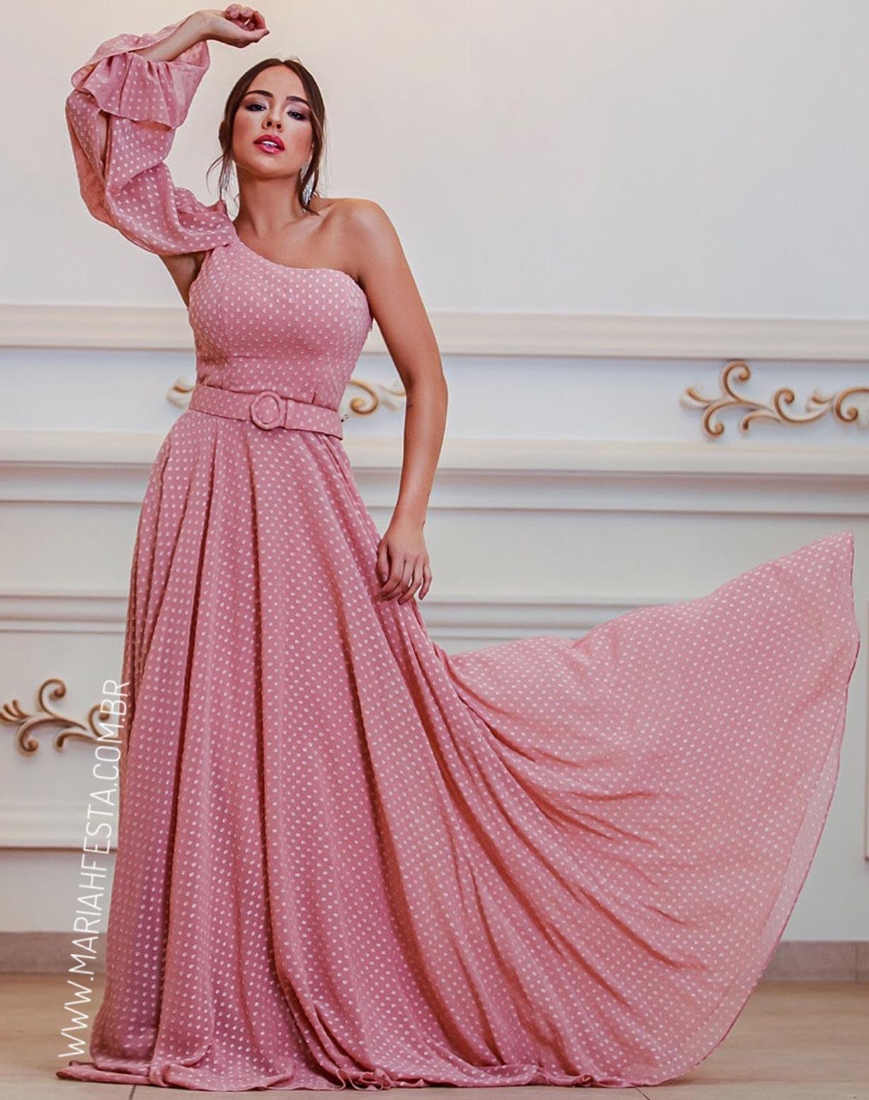 Vestido Rose de um Ombro Só Texturizado