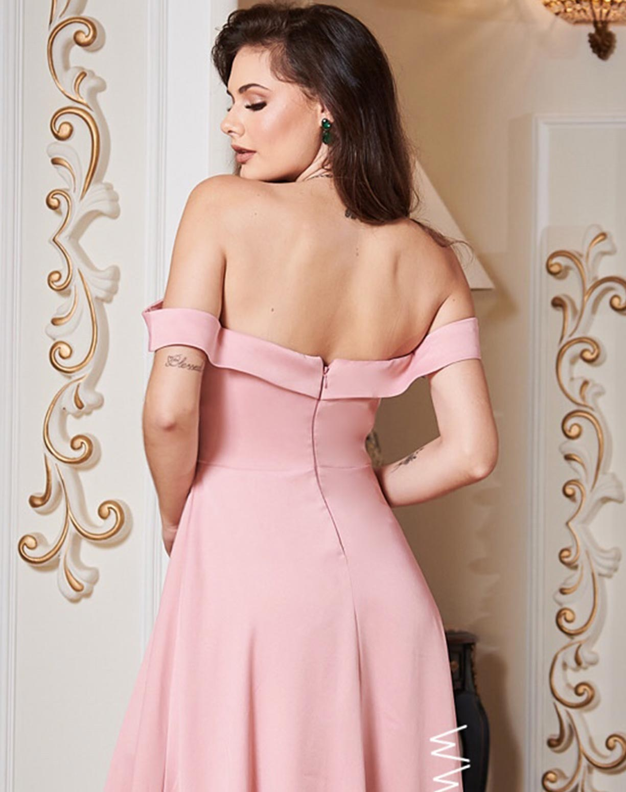 Vestido Rosê Decote Ombro a Ombro