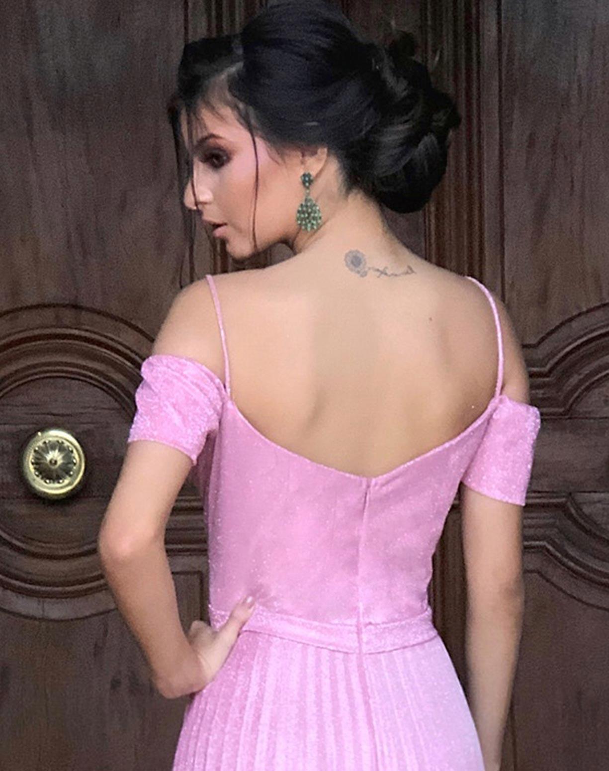 Vestido Rosê em Lurex com Glitter