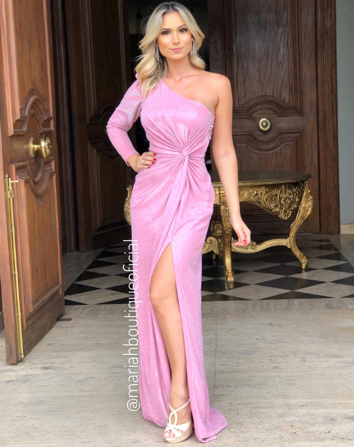 Vestido Rosê em Lurex com Glitter de um Ombro só