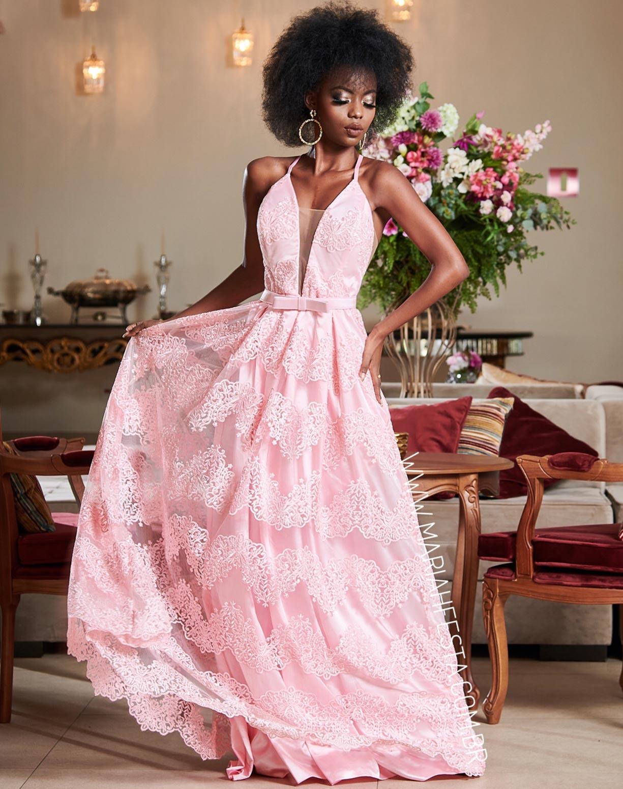 Vestido Rosê em Renda com Cinto