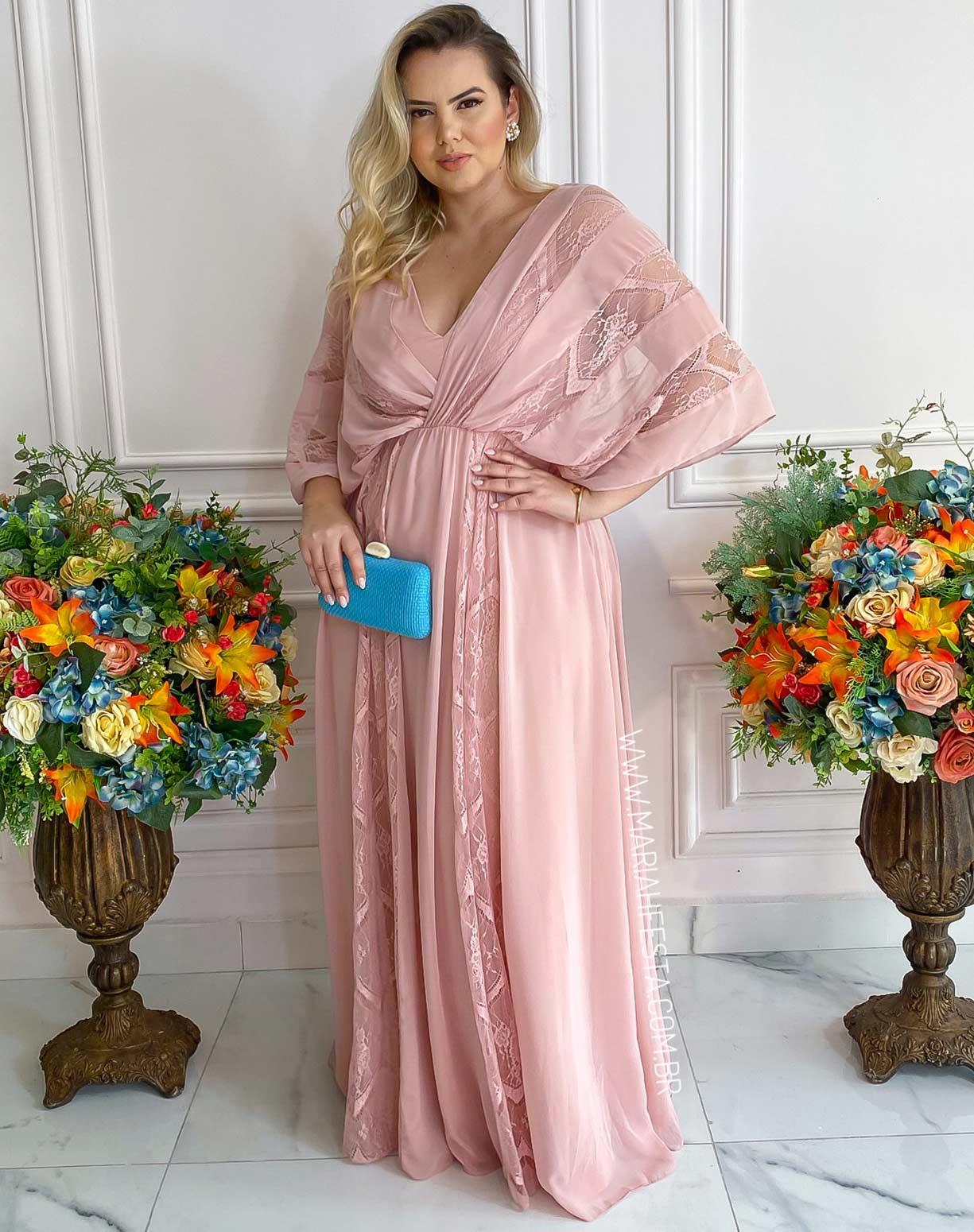 Vestido Rose em Renda e Chifon de Seda
