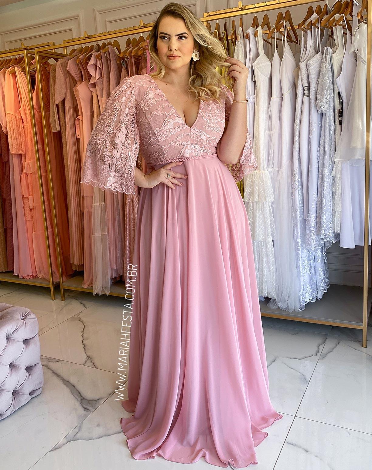 Vestido Rosê em renda e crepe de seda