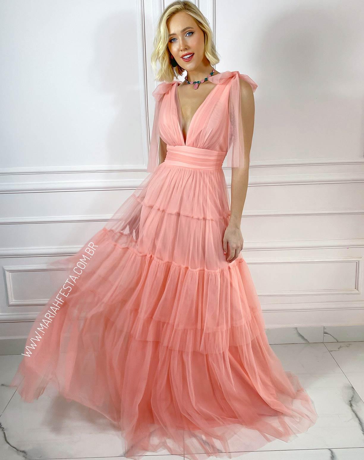 Vestido Rosê em Tule com Alça de Amarrar e Saia com Babados