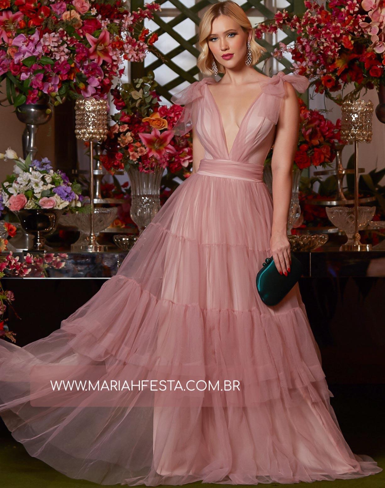 Vestido Rose em Tule com Alça de Amarrar e Saia com Babados