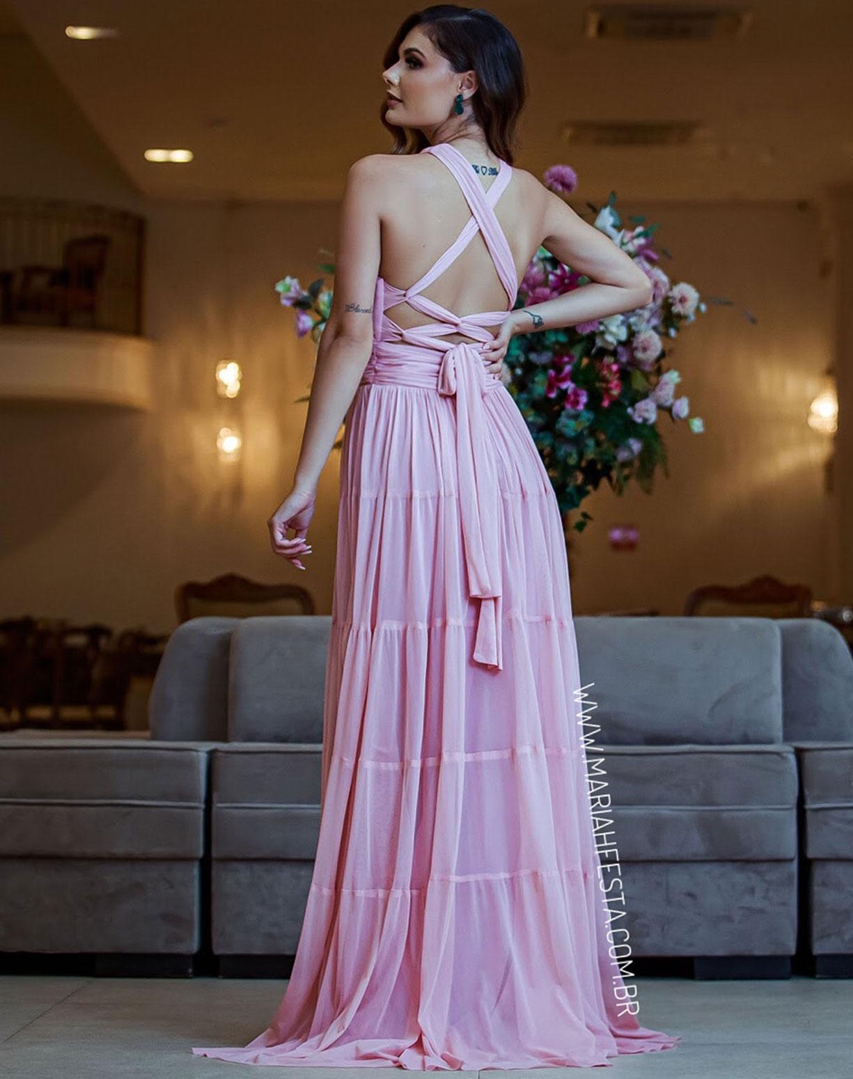 Vestido Rosê em Tule com Alças Transpassadas