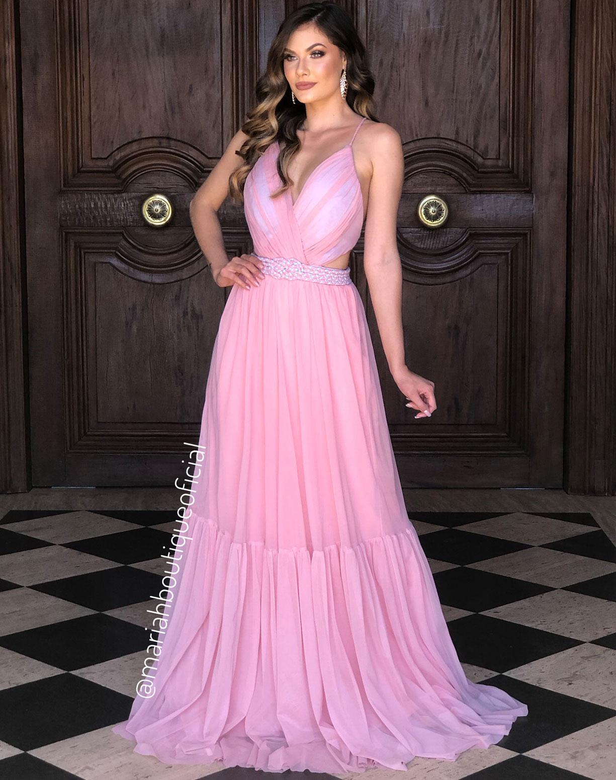 Vestido Rosê em Tule com Cinto em Macramê