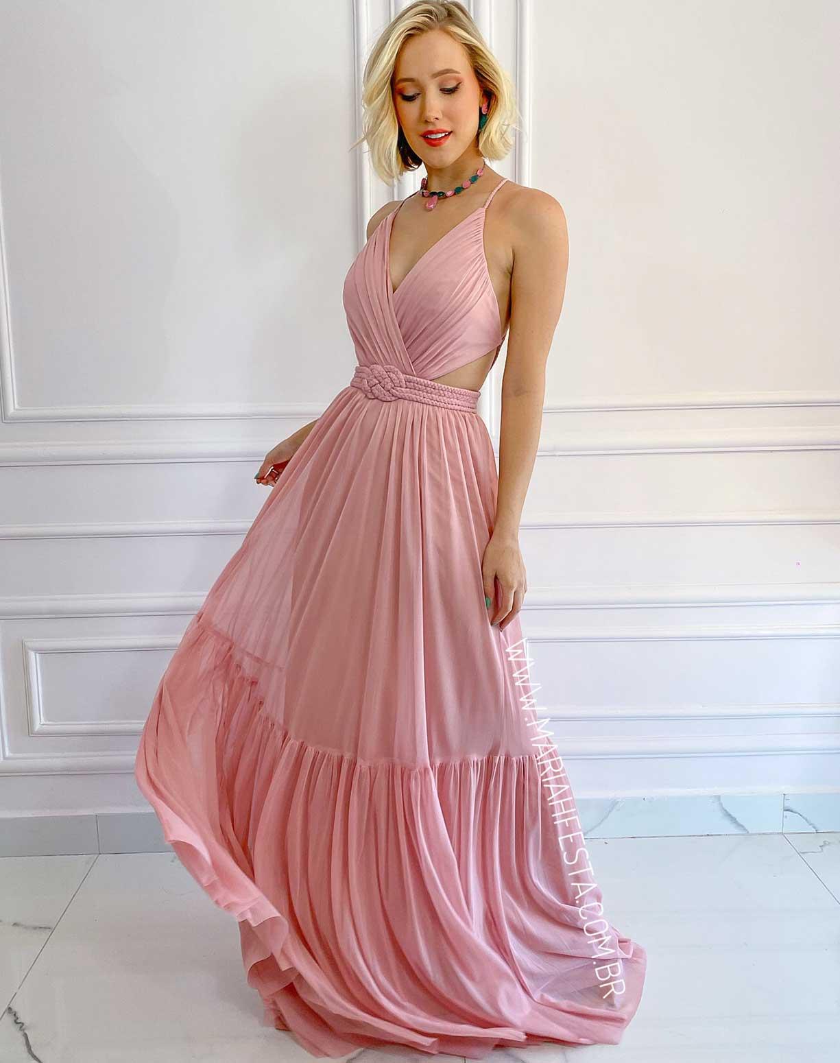 Vestido Rose em Tule com Cinto em Macramê