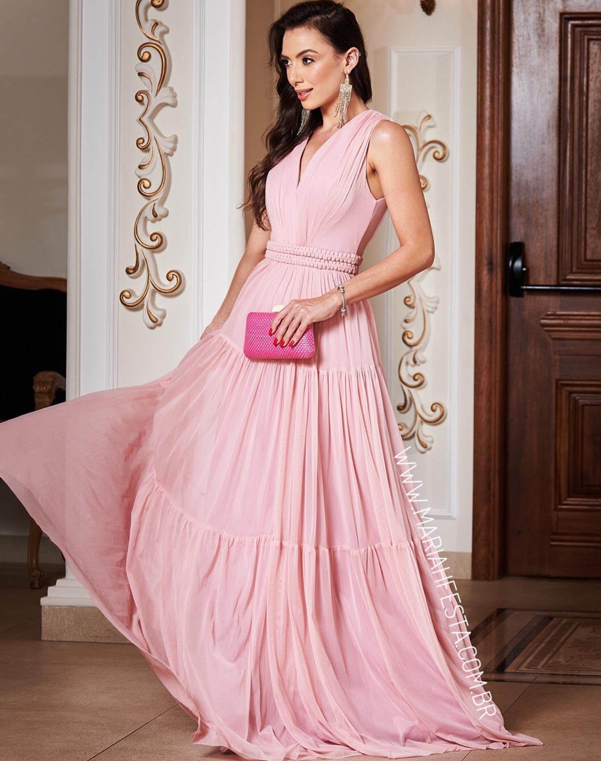 Vestido Rosê em Tule com Cinto Fixo em Macramê