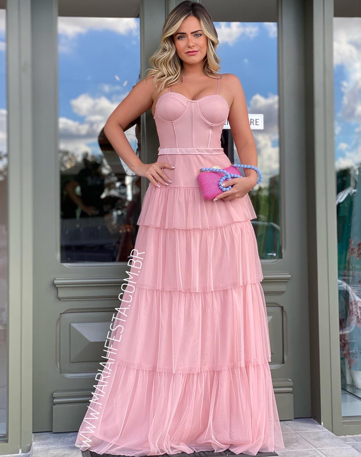 Vestido Rosê em Tule com Corpete