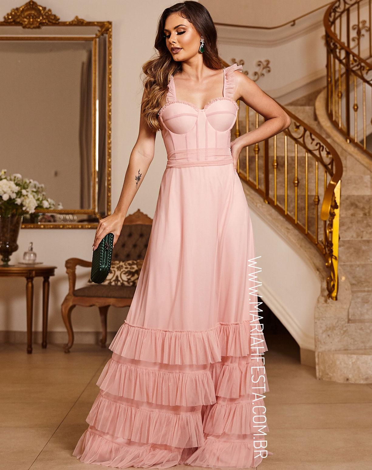 Vestido Rosê em Tule com Corpete e Camadas na Barra