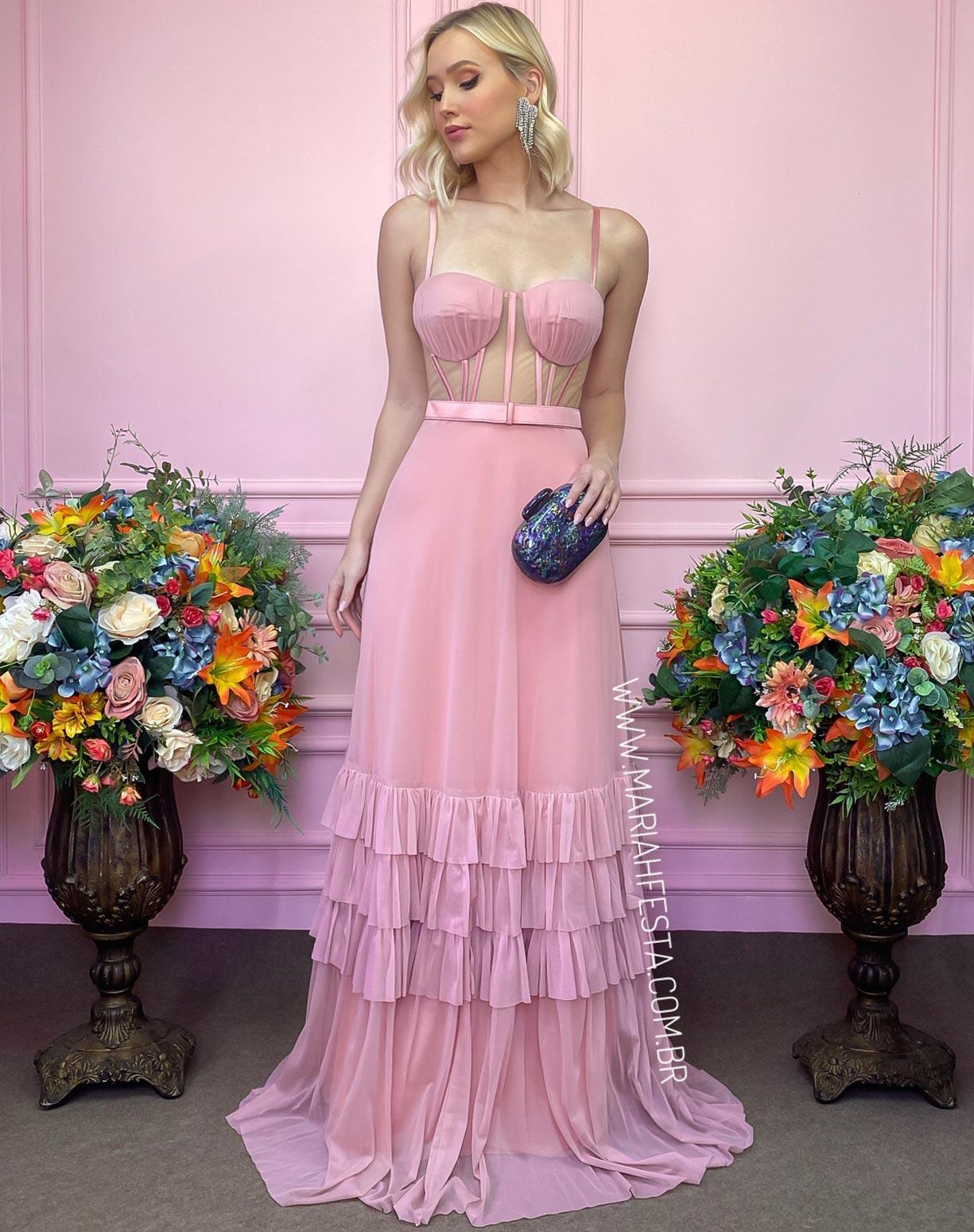 Vestido Rose em Tule com Corpete em Transparência