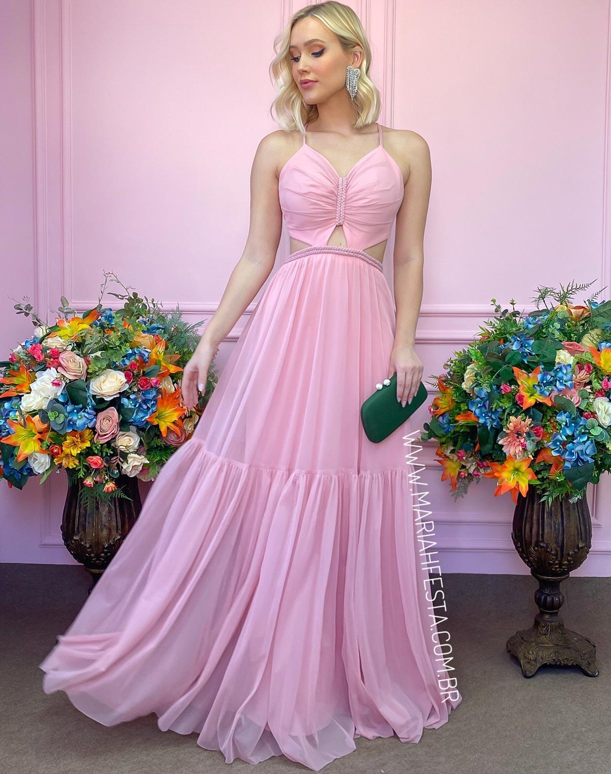 Vestido Rose em Tule com Detalhes em Macramê