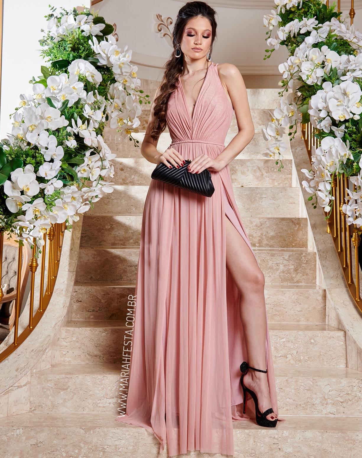 Vestido Rosê em Tule com Duas Fendas