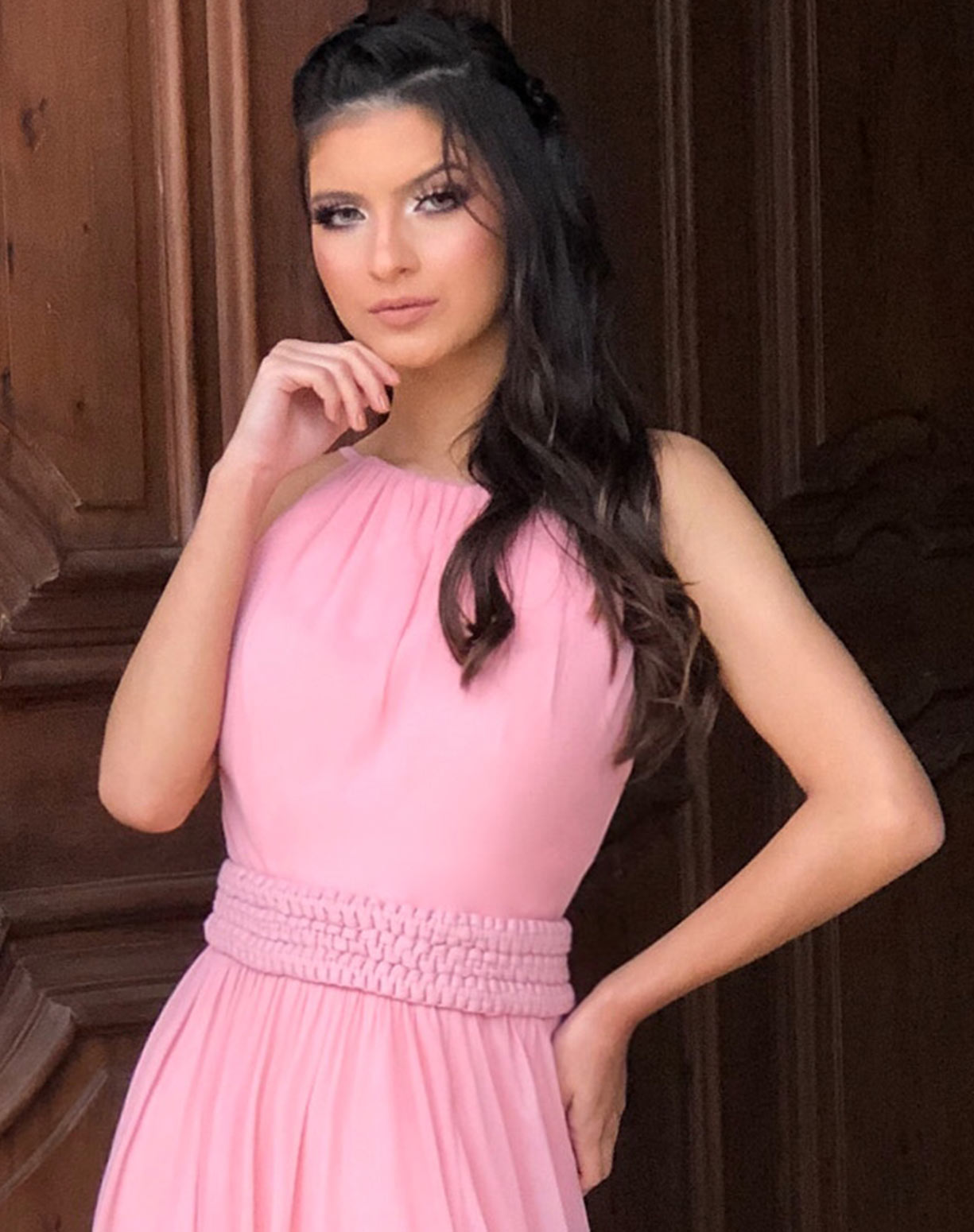 Vestido Rosê em Tule com Fenda e Cinto em Macramê