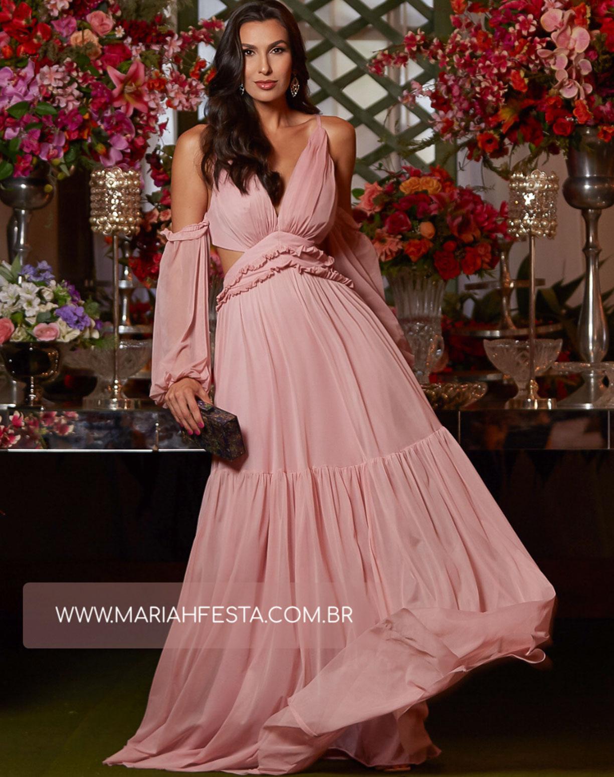 Vestido Rose em Tule com Manga Ciganinha e Decote na Lateral
