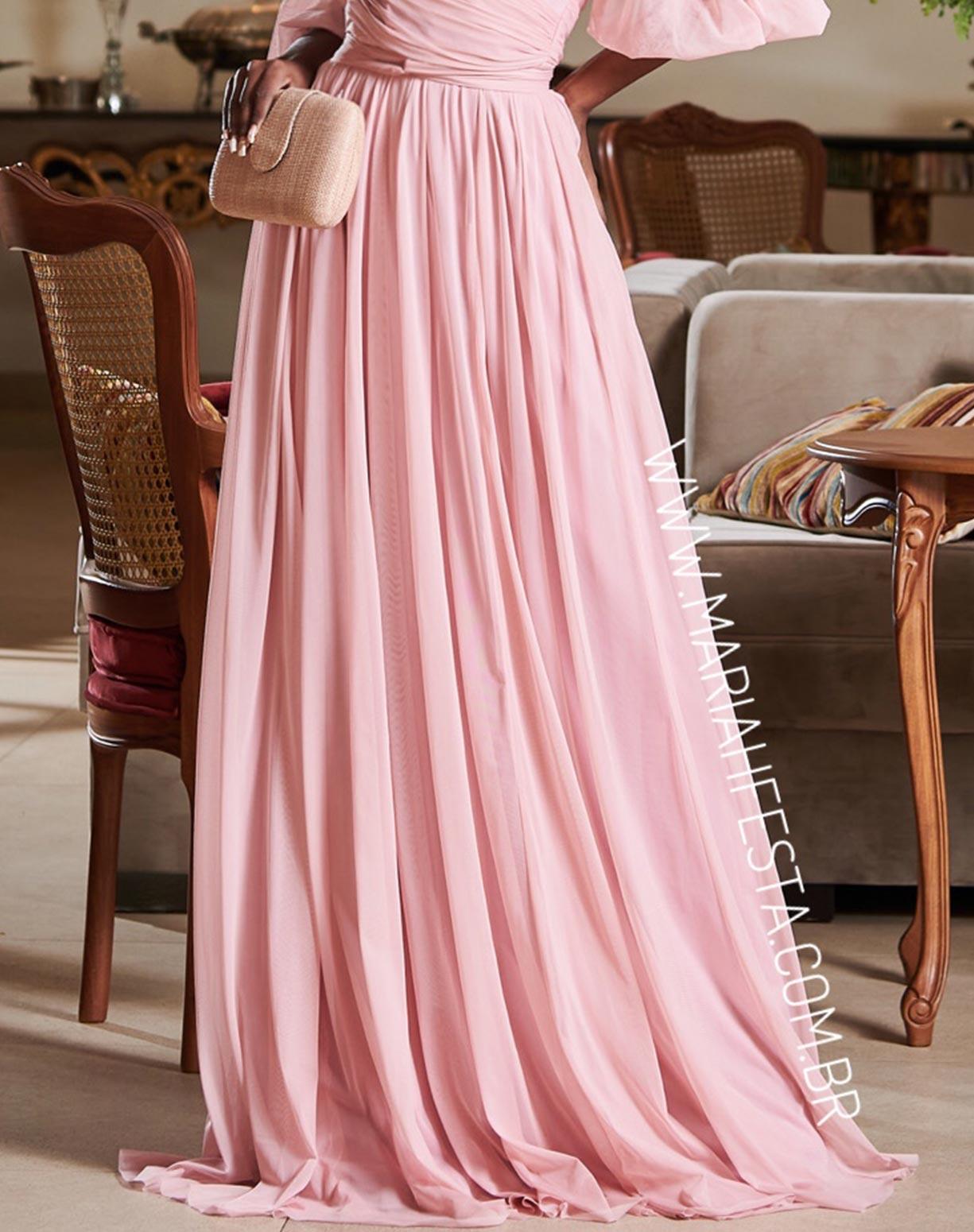 Vestido Rosê em Tule com Manga Ombro a Ombro