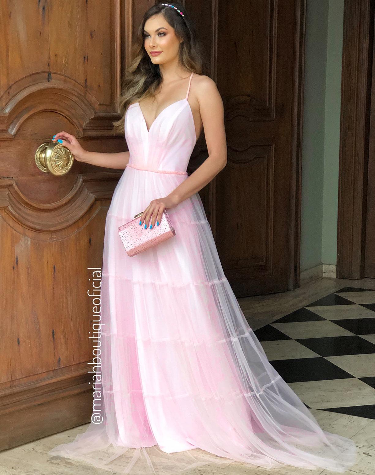 Vestido Rosê em Tule com Saia Evasê em Camadas