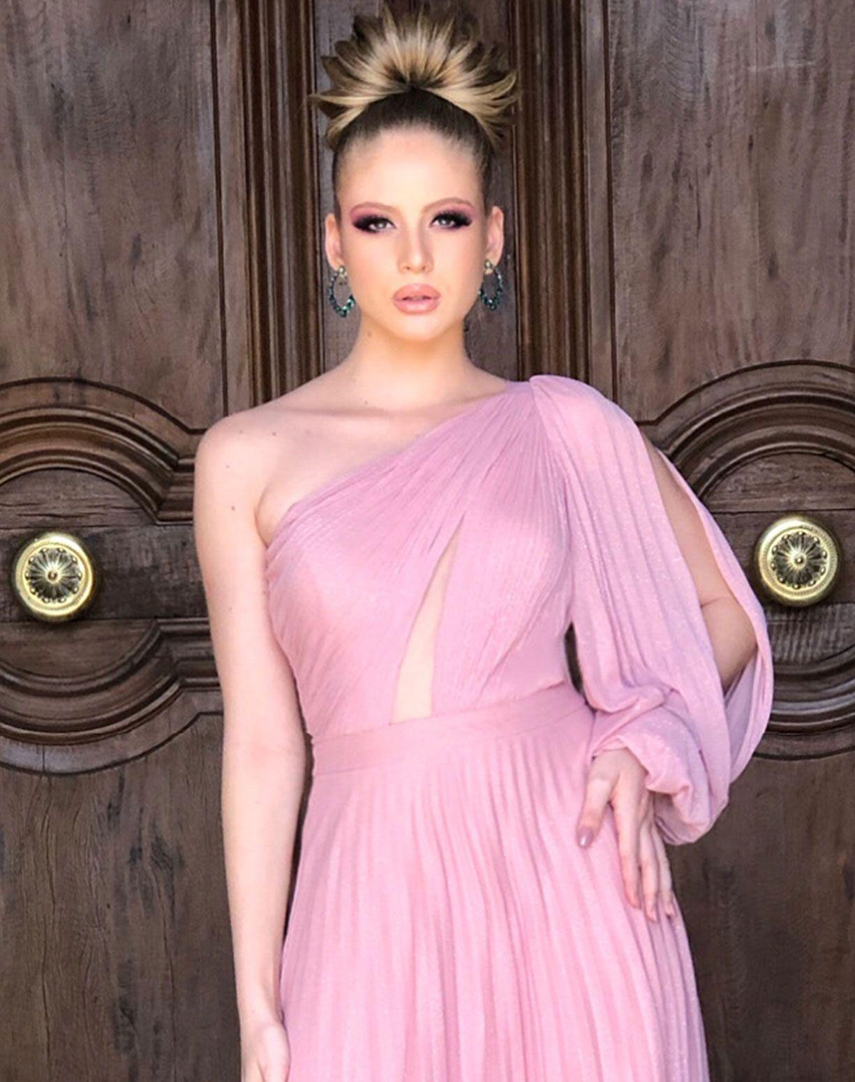 Vestido Rose em Tule Glitter Plissado de Um Ombro Só