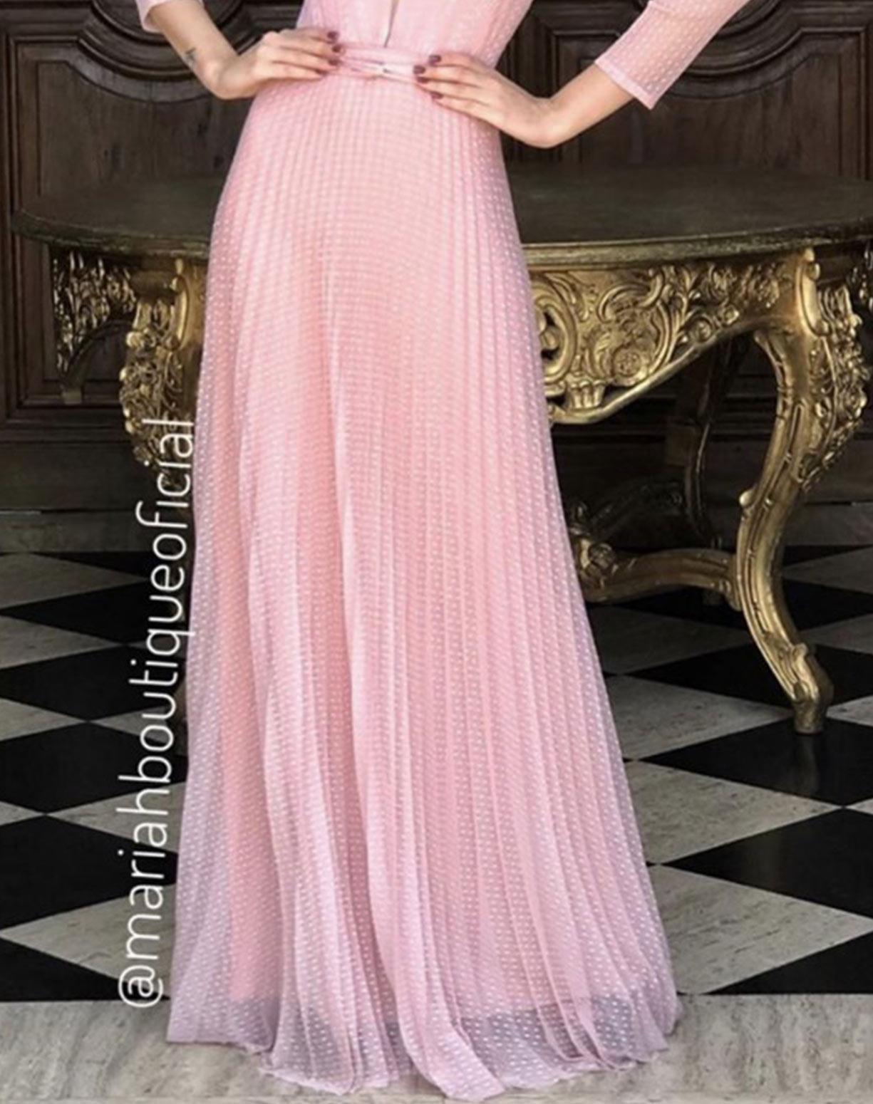 Vestido Rosê em Tule Texturizado