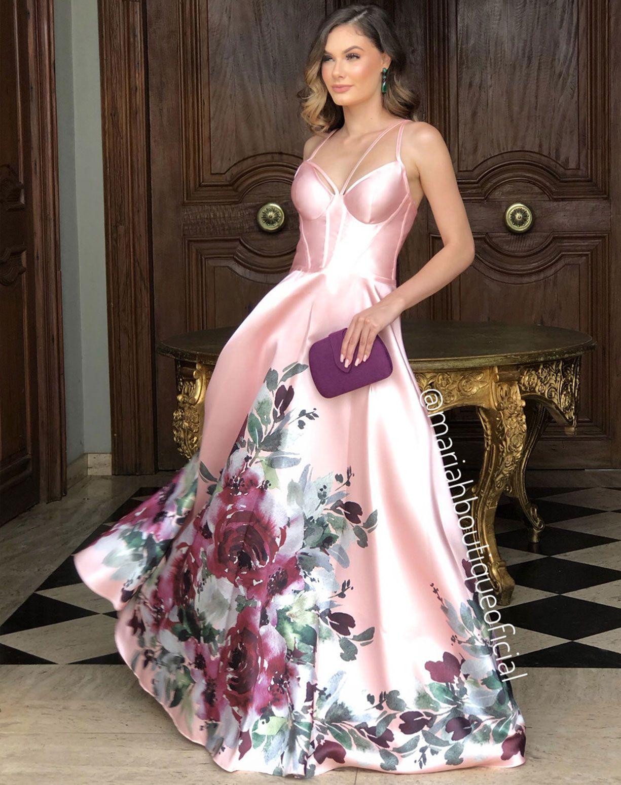 Vestido Rose em Zibeline Com Barrado Floral