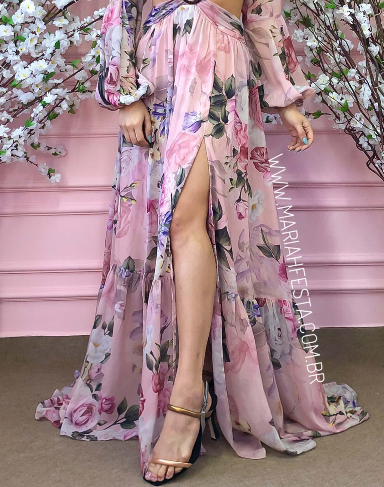 Vestido Rosê Estampado com Decotes