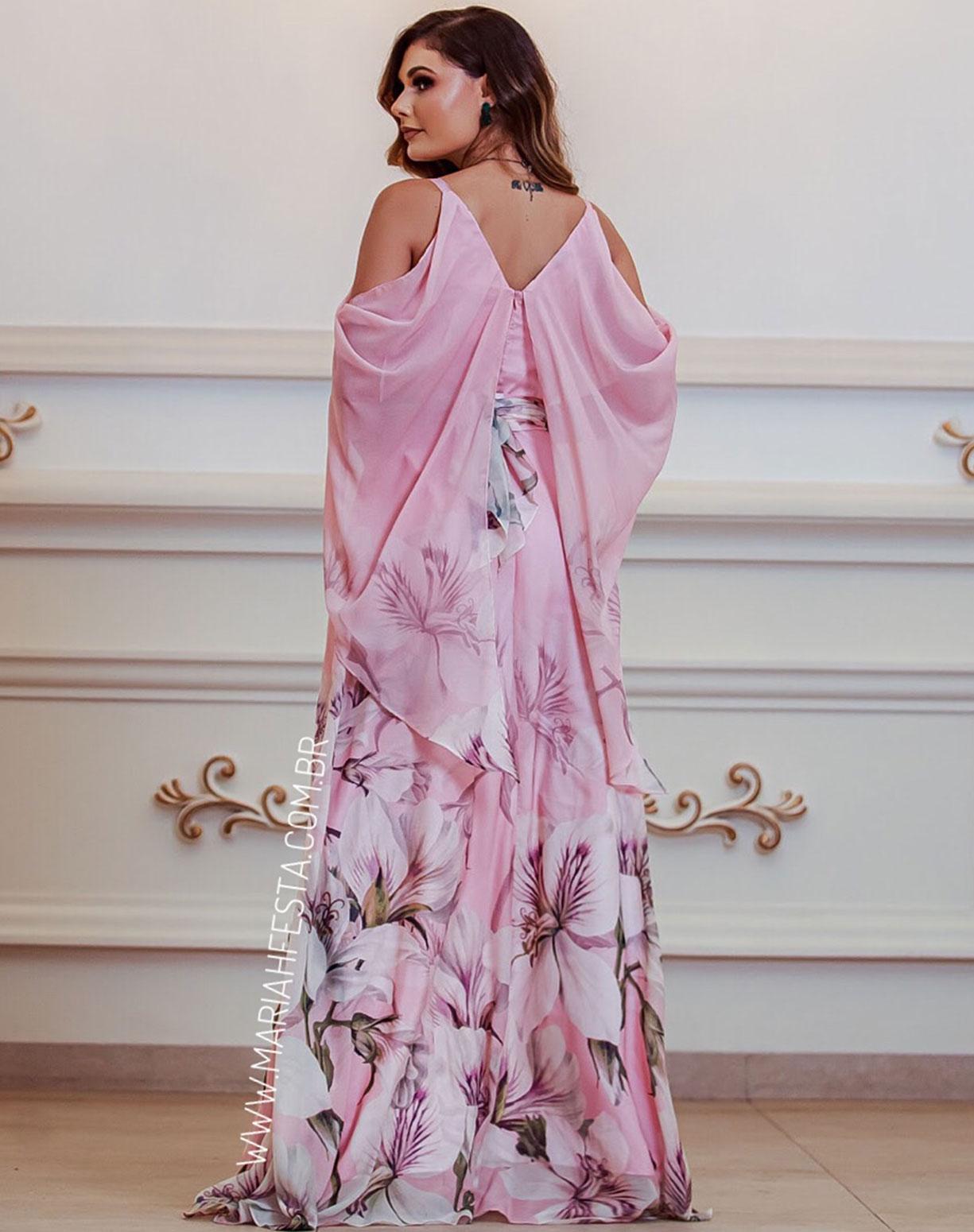 Vestido Rosê Estampado com Manga Capa Voal
