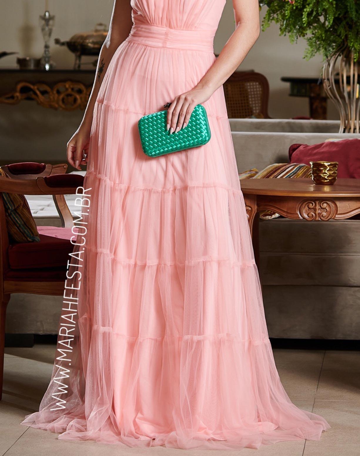 Vestido Rosê Frente Única com Gola Jabô