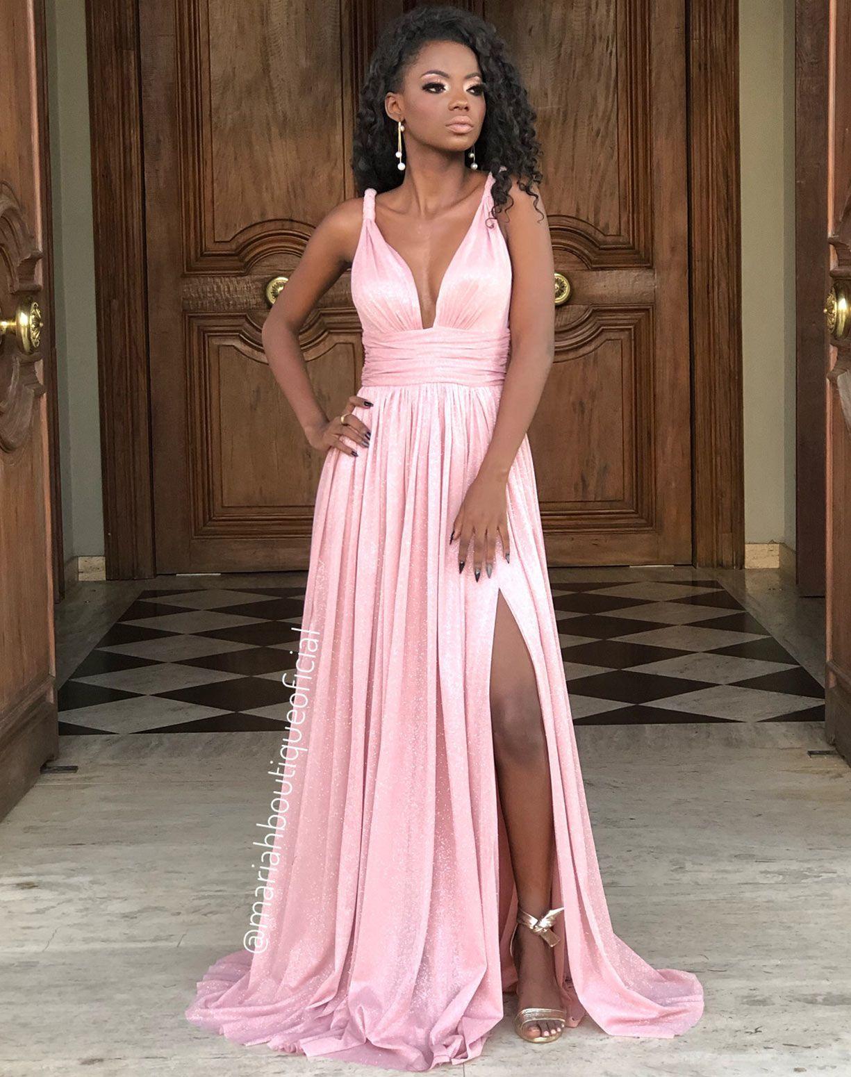 Vestido Rose Glitter Com Fenda