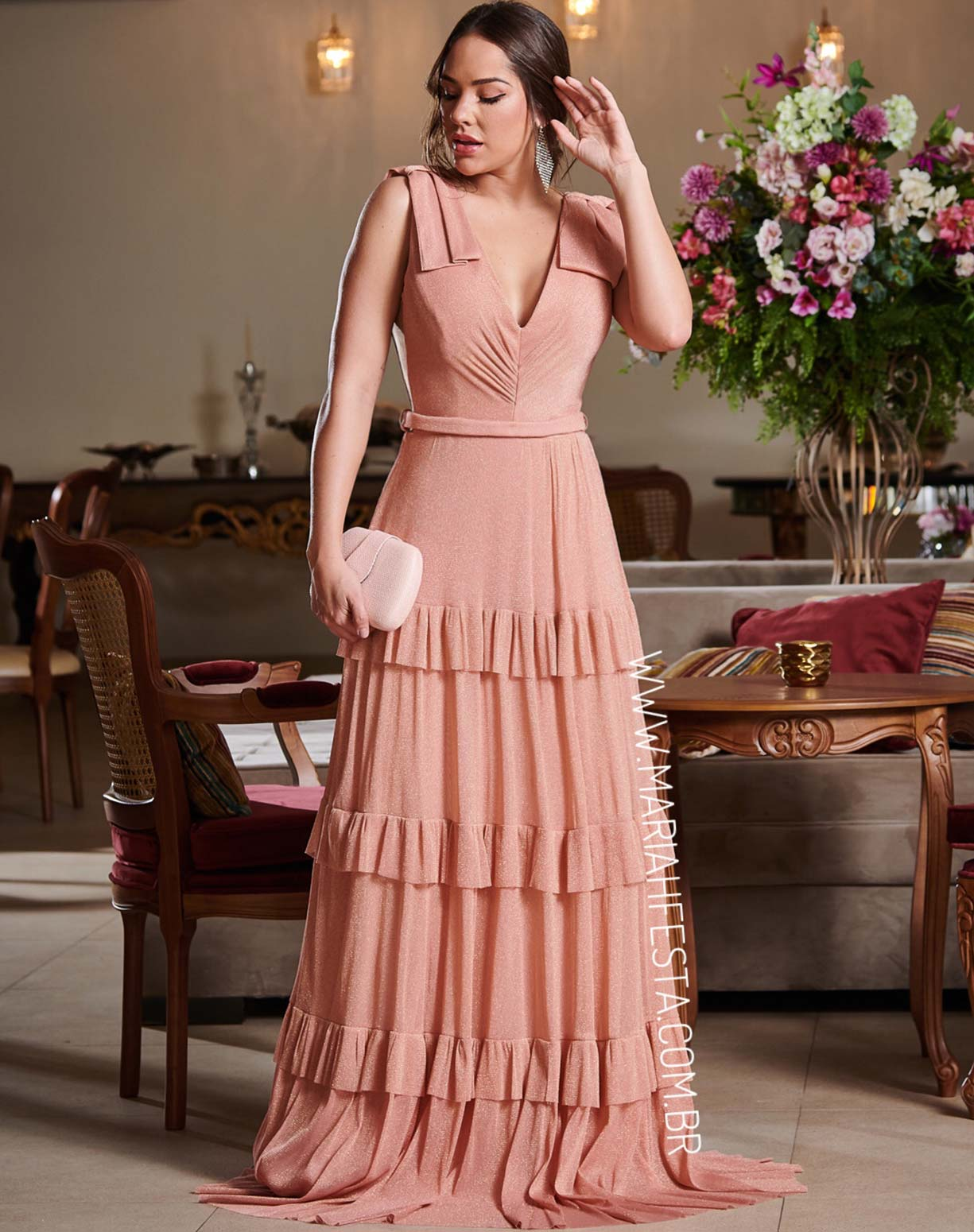 Vestido Rosê Gold em Tule de Lúrex
