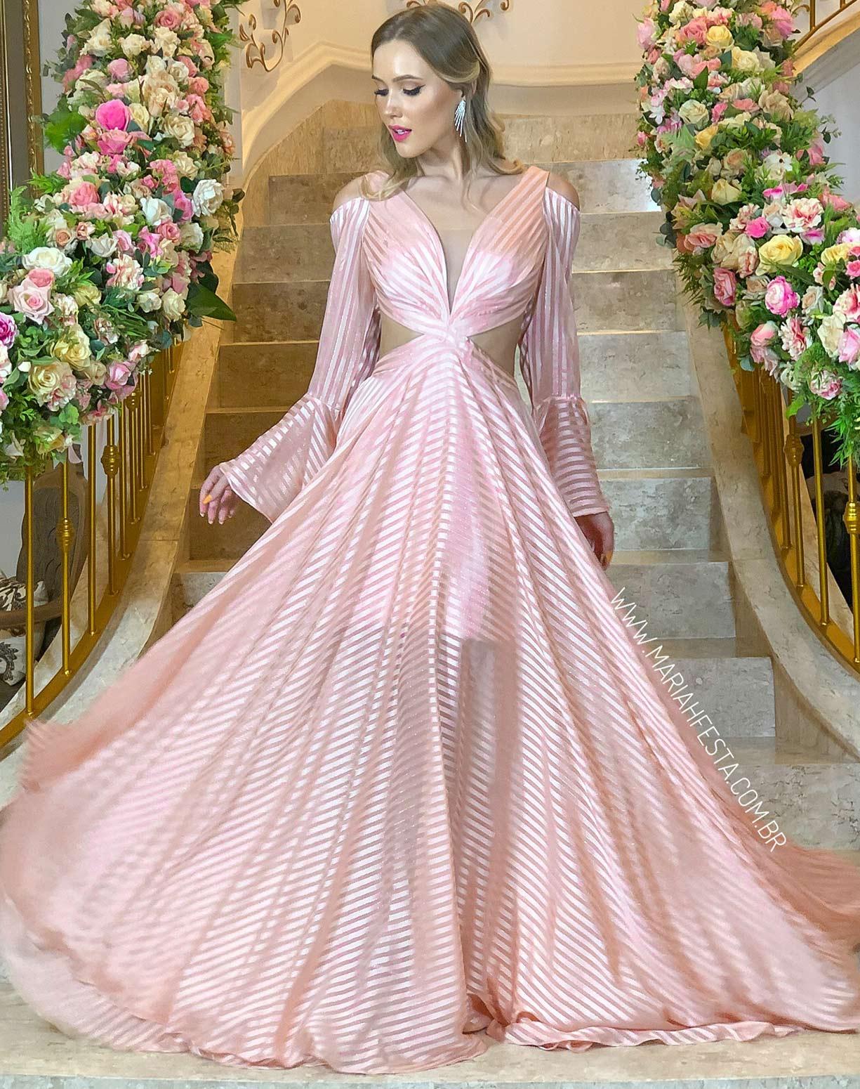 Vestido Rose Listas com Manga Flare e Decote
