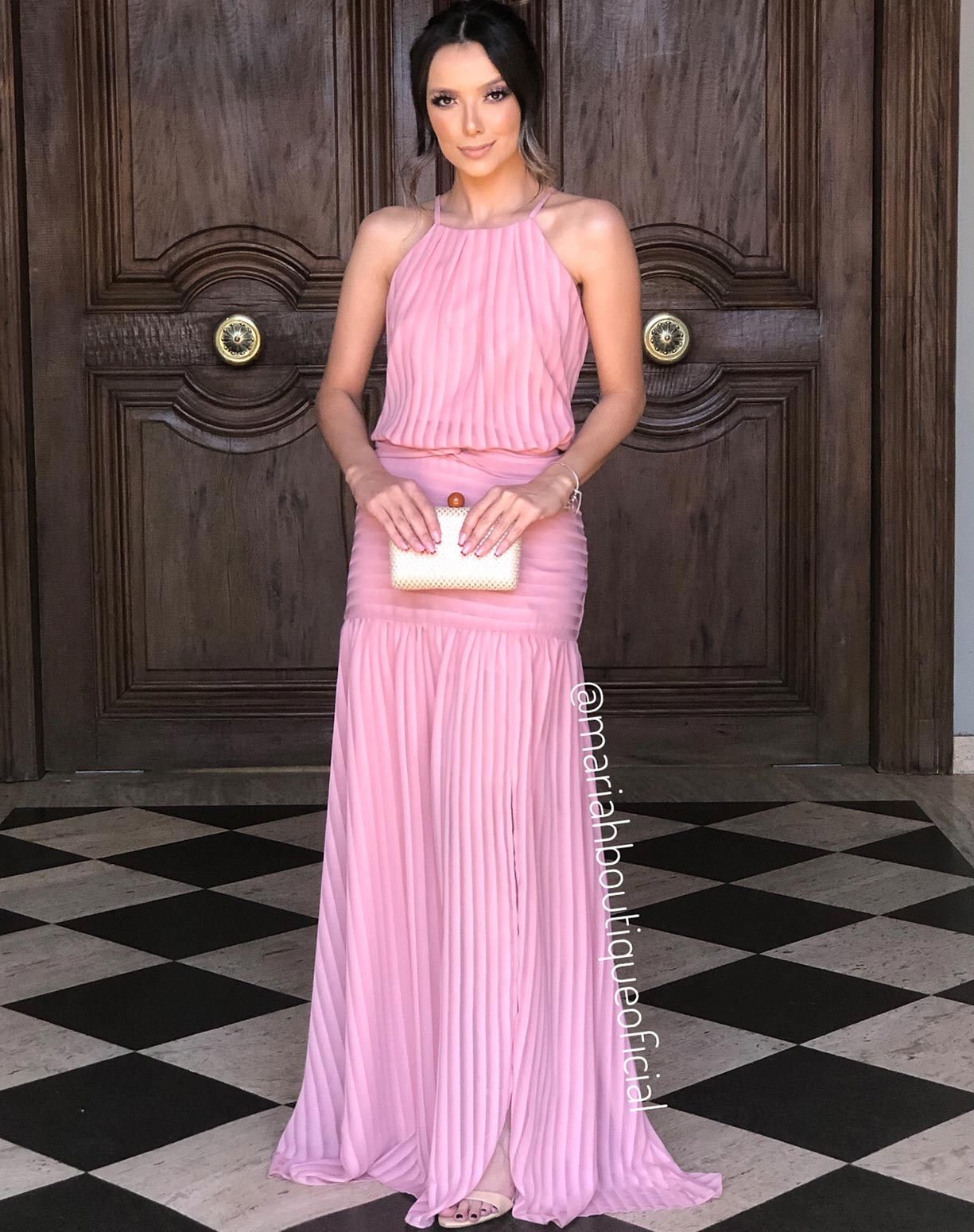 Vestido Rosê Listrado com Fenda