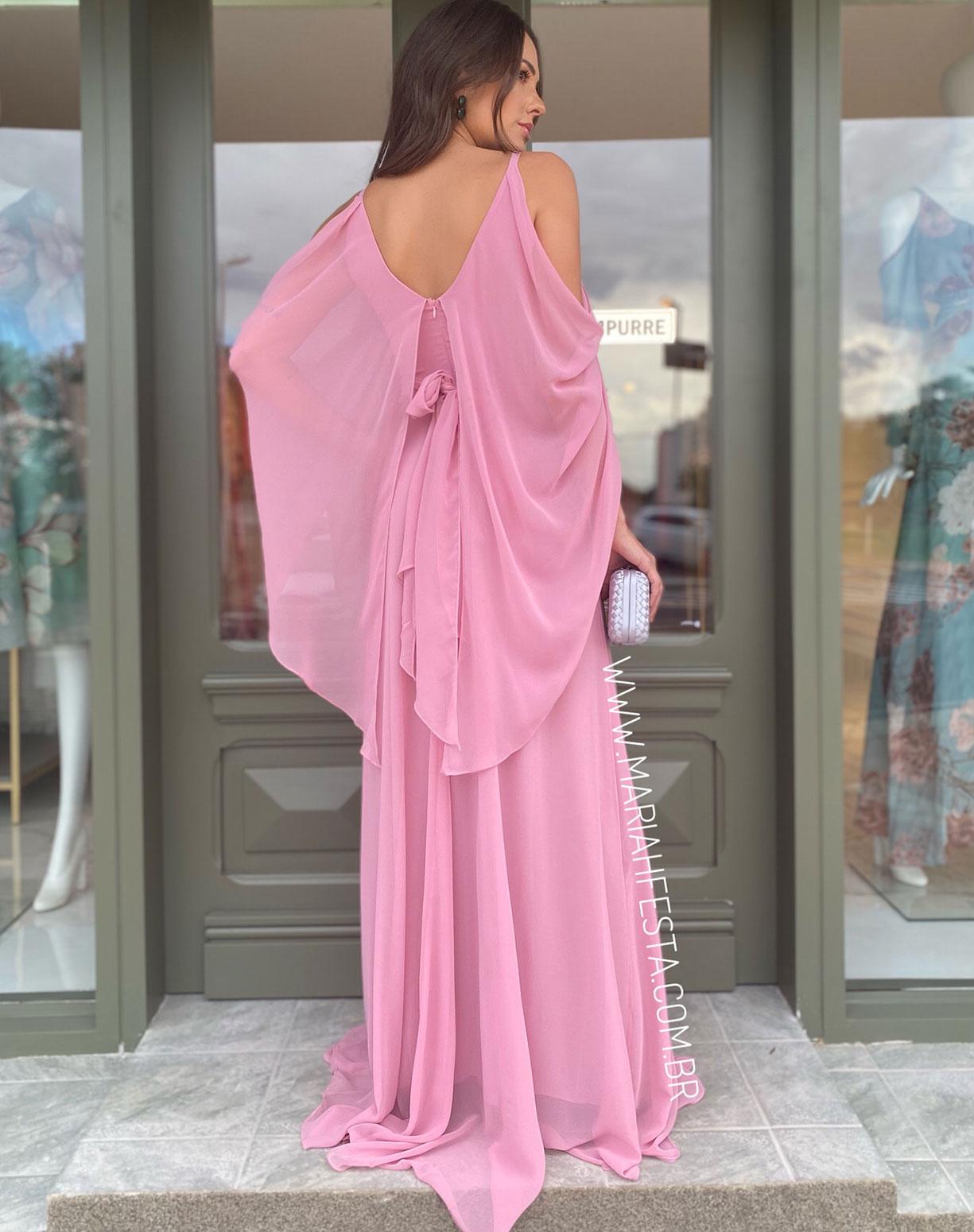 Vestido Rosê Manga Capa e Saia Evasê